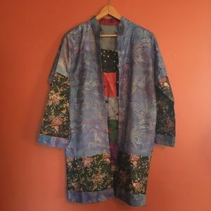 Silk Thai artsy patchwork jacket M